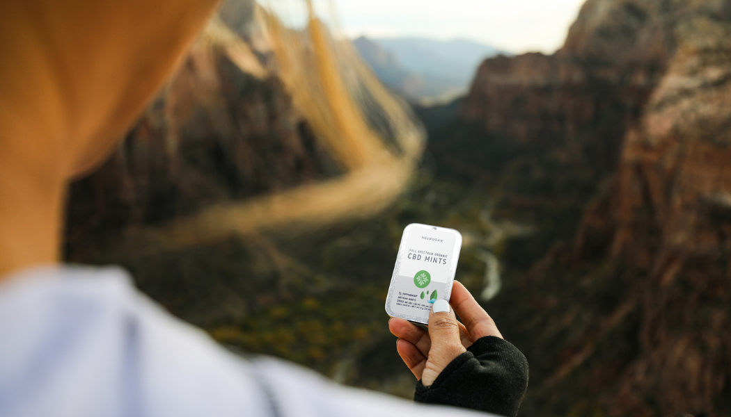 cbd mints held by a girl on a mountain